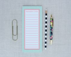Gingham Tall Personalized Notepad Lined | Meredith Collie Paper