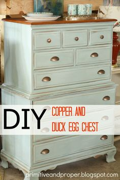 Love this Primitive & Proper: Duck Egg and Copper Chest