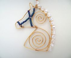 Crystal Moon - Wire Horse Pendant Necklace - Folksy Gabs would love this