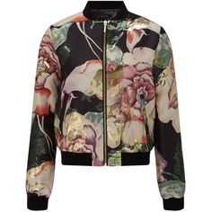 Miss Selfridge Floral Print Bomber Jacket (1,140 MXN) ❤ liked on Polyvore featuring outerwear, jackets, tops, coats, bomber jacket, assorted, metallic jacket, floral bomber jacket, bomber jackets and brown bomber jacket