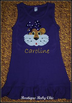 Toddler Dress w LSU tiger face applique / Purple and by bbcnola, $32.00