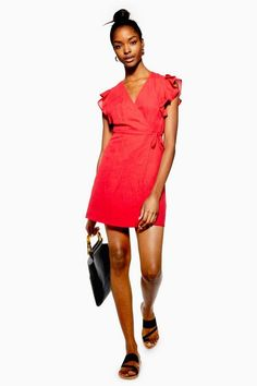 7d04215b84e PETITE Ruffle Wrap Dress with Linen