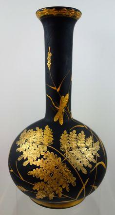 Harrach Black Hyalith Enameled & Gilt Glass Vase, ca. 1887