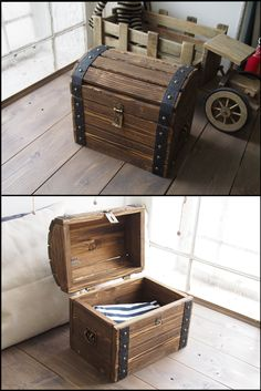 Wooden chest - Pirate chest - Toy Box - Treasure chest The chest with a deep wood texture is more expressive both externally and by touch. It has the high-quality brass fittings. The cover plate for an aged padlock is made especially for this chest. Each detail is worked out carefully. The chest will give a special mood to any interior. Both children and adults will be delighted with such a gift. The chest's dimensions are 12 x 8 x 8 inches. (30х20х20 cm).