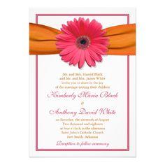 Pink Gerber Daisy Orange Ribbon Wedding Invitation