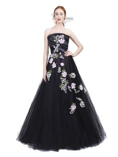 Oscar De La Renta Floral Strapless Floral Embroidered Gown jaglady