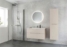 Tidløst nordisk baderomsdesign - Byggmakker - Lilly is Love Corner Shower Doors, Downstairs Toilet, Modern Wallpaper, Bathroom Furniture, Scandinavian Design, Minimalism, Shelves, Mirror, Home Decor