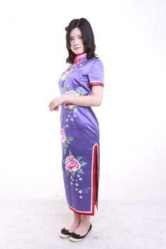 Purple cheongsam with peony flowers embroidery - Custom-made Cheongsam,Chinese clothes, Qipao, Chinese Dresses, chinese clothing,EFU Tailor Shop