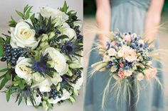I love the feathery/ ethereal look of the wheat & thistle bouquet on the right Blue Wedding Flowers, Blue Flowers, Wedding Colors, Wedding Table Decorations, Wedding Centerpieces, Wedding Bouquets, Thistle Bouquet, Blue Bouquet, Blue Flower Arrangements