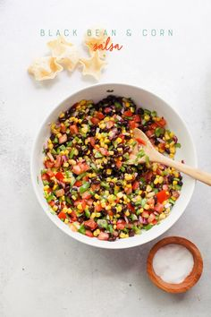 This hearty Black Bean and Corn Salsa makes a wonderful summertime meal - just add chips! Corn Salsa Dip, Black Bean Corn Salsa, Dried Black Beans, Dried Beans, Meat Recipes, Cooking Recipes, Healthy Recipes, Black Bean Quesadilla, Hawaiian Chicken Kabobs