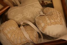 .Vintage lace heart sachets.