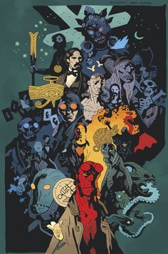 A Mignolaverse print by Mike Mignola available at the New York Comic-Con last weekend Comic Book Pages, Comic Book Artists, Comic Artist, Comic Books Art, Mike Mignola Art, Darkhorse Comics, Star Wars Poster, Star Wars Art, Star Trek