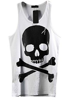 a7208c1f511197 Penny Deals   - WANSHIYISHE Men s Skull Tank Top Fashion Vest Sleeveless  white US XL     Click image for more details.