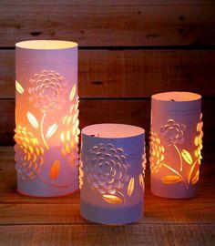 Cómo decorar unas veladoras con papel cortado kirigami ~ Solountip.com