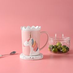 Cute and pink cup ! Pink Cups, Emboss, Unicorn, Lunch Box, Delicate, This Or That Questions, Mugs, Tumblers, A Unicorn