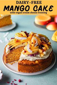 Healthy Vegan Desserts, Delicious Vegan Recipes, Healthy Dessert Recipes, Cake Recipes, Vegetarian Recipes, Vegan Food, Vegan Cream Cheese Frosting, Cake With Cream Cheese, Mango Recipes