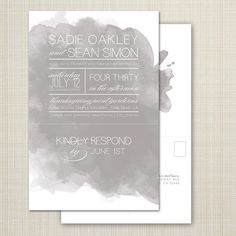 custom wedding invitation, modern wedding invitation, watercolor wedding invitation with tear off rsvp postcard - watercolor.