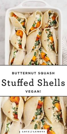 """These creamy vegan stuffed shells are filled with roasted butternut squash and a tangy spinach """"ricotta."""" The ultimate fall comfort food! Stuffed Shells Recipe, Stuffed Pasta Shells, Healthy Stuffed Shells, Vegetarian Recipes, Healthy Recipes, Fall Recipes, Healthy Food, Vegetarian Diets, Fall Dinner Recipes"""