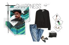 """Sharpness"" by lvelishko ❤ liked on Polyvore featuring art, black, jeans and JasonWu"