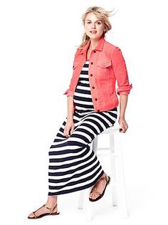 Pink jean jacket and striped maxi dress from Gap. Dress:http://www.gap.com/browse/product.do?cid=87314=591423 Jacket: http://www.gap.com/browse/product.do?cid=87314=600553
