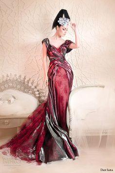 dar sara couture 2014 metallic red cap sleeve gown