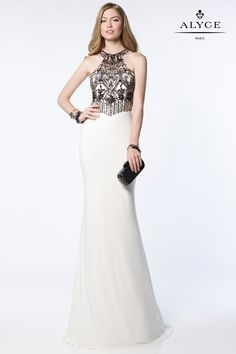 Elegant jersey gown with an embroidered halter top and cutout back.