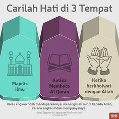 Carilah hatimu di tiga tempat ini: . 1. Majelis ilmu 2. Saat membaca al qur'an 3. Saat berkhalwat dengan Allah . Kalau engkau tidak mendapatkannya menangislah dan mintalah pada Allah karena engkau tidak mempunyainya [ibnul qayyim] . #indonesiabertauhid #ilmu #majelis #quran #Allah #hati #menangis #instagram by indonesiatauhid