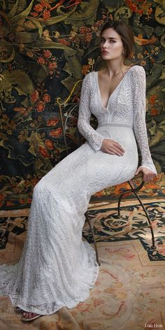LIHI HOD #bridal 2016 florence long sleeve #wedding dress sheath silhouette deep v neckline