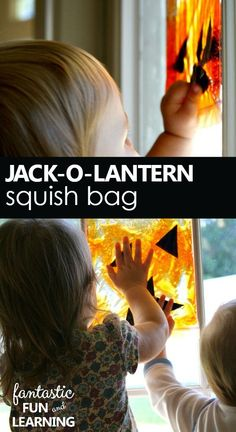 Jack-O-Lantern Squish Bag Halloween Sensory Play for Babies, Toddlers and Preschoolers