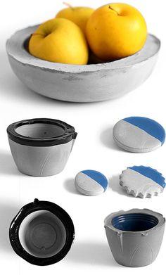 Cuencos y platos hechos con cemento
