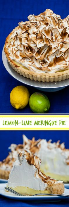 This lemon-lime meringue pie's tart lemon-lime filling could really stand alone, but the sweet billowing mass of meringue transforms a simple pie into a festive extravagance. A perfect special occasion dessert!