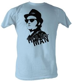 """Blues Brothers Holy Man Shirt  This officially licensed Blues Brothers shirt features John Belushi as Jake Blues and says """"Holy Man"""".    Fabric Details        Color: Light Blue      100% cotton    Our Price: $17.95  - See more at: http://www.oldschooltees.com/Blues-Brothers-Holy-Man-Shirt-p/blu002.htm#sthash.fOE8RHtR.dpuf"""