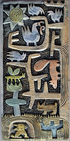 A delightful hand produced ceramic relief by Hilke MacIntyre. The piece measure approx x See more work by Hilke MacIntyre. Ceramic Wall Art, Ceramic Clay, Ceramic Plates, Ceramic Pottery, Pottery Art, Tile Murals, Tile Art, Inchies, Clay Tiles