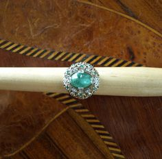 Art Nouveau Revival Sterling & 22K Gold Natural 6.81 Carat Chatoyant Emerald Cabochon Ring by Gementia13Jewels