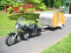 Home-built Teardrop Trailer made for towing with a Honda Shadow motorcycle Pull Behind Motorcycle Trailer, Pull Behind Campers, Teardrop Trailer Plans, Teardrop Campers, Motorcycle Campers, Honda Shadow, Camper Trailers, Tiny Trailers, Motorhome