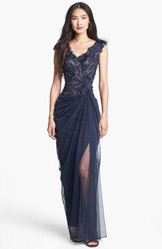 Tadashi Shoji Embellished V-Neck Tulle Gown available at #Nordstrom