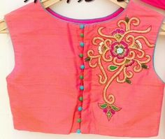 Hand embroidery boat neck blouse get it at http://mytailor.in/