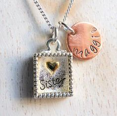 Sister Shadow Box Personalized Hand Stamped Necklace