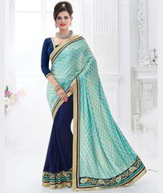 Indian Women Jacquard Cyan and Blue Color Saree Half Saree Designs, Saree Models, Off Shoulder Crop Top, Casual Saree, Work Sarees, Indian Couture, Party Wear Sarees, Indian Ethnic Wear, Sarees Online