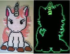 Glowing Unicorn perler beads by Szilvi