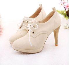 fashion-4-Color-womens-lace-up-vogue-high-heel-shoes-Beige-US7-5
