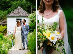 Bride and groom portraits in Blithewold's display garden.
