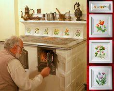KUCHNIA KAFLOWA  Zaprojektowana i wykonana od projektu, wykonania modeli, form, kafli oraz montaż przez artystę plastyka, architekta wnętrz Ryszarda Krawczyka -BorysArt   Malowane polne kwiatki /naszkliwnie/ Danuta Rożnowska-Borys