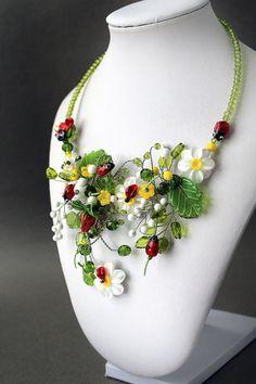 Lampwork Necklace Handmade Glass Daisy by JewelryBeadsByKatie