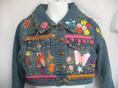 Decorated girls' Denim  Jeans Jacket 4T  8 by Toide on Etsy