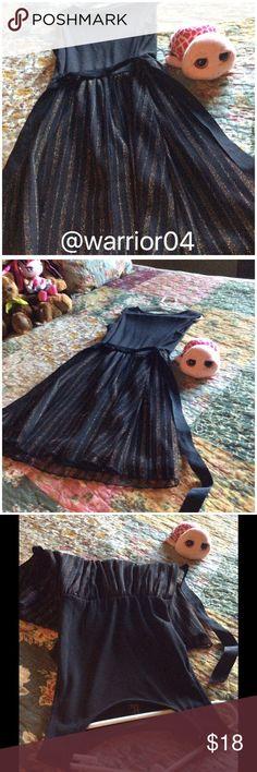 Girls Black Dress w/ribbon a sash & Striped Dress Girls Black Dress w/ribbon a sash & Striped Dress Forever 21 Dresses Formal