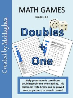 Your student's struggles with doubling is over! This math game is sure to become a class favorite. Comes with three different leveled game boards (easy to challenging) and directions. ($)