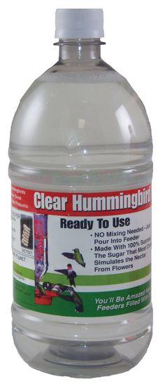 1 Liter (33.8 oz) Clear Ready-To-Use Hummingbird Nectar    WWW.WILDBIRDSHOPS.COM