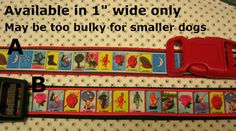 """Mexican Game Lottery La Loteria 2 Designs  1"""" wide Adjustable dog collar with a…"""