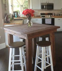 Awesome practical small living dining room 00008 ~ Home Decoration Inspiration Top Kitchen Table, Living Dining Room, Small Living Dining, Kitchen Remodel Small, Diy Farmhouse Table, Small Kitchen Tables, Farmhouse Table Plans, Building A Kitchen, Tall Kitchen Table